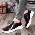 Pop Pop ! Nice New Spring Men Platform Casual Flats Popular Lace Up Patent Leather Men Fashion Brogue Carved Oxfords Shoes