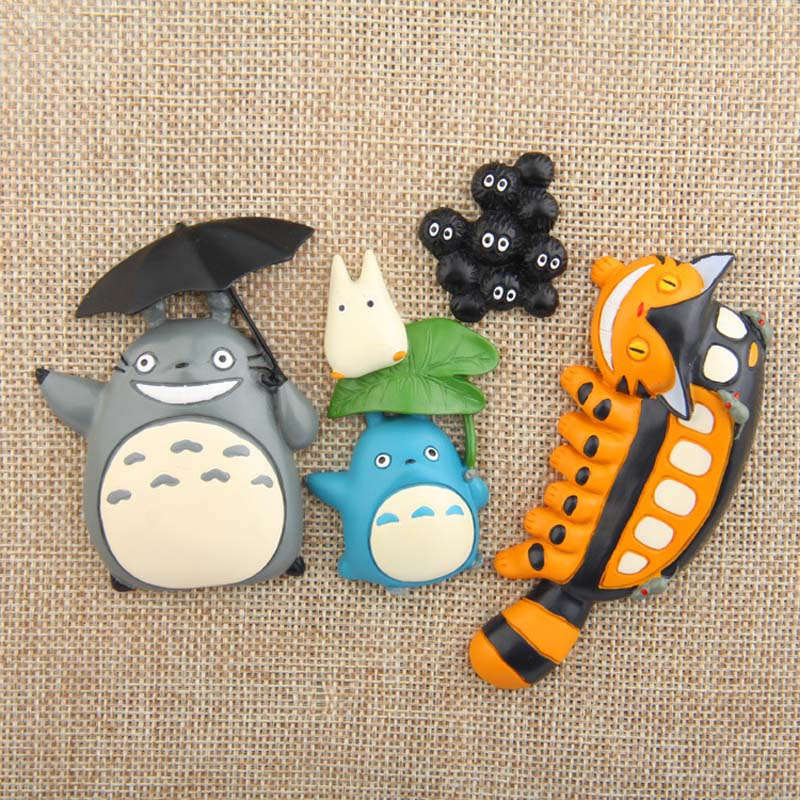 Cartoon Cute Gili Cat Briquettes Chirp Station Green Leaf On Blue Totoro Umbrella Totoro Bus Fridge Magnet Home Decor Gift in Fridge Magnets from Home Garden