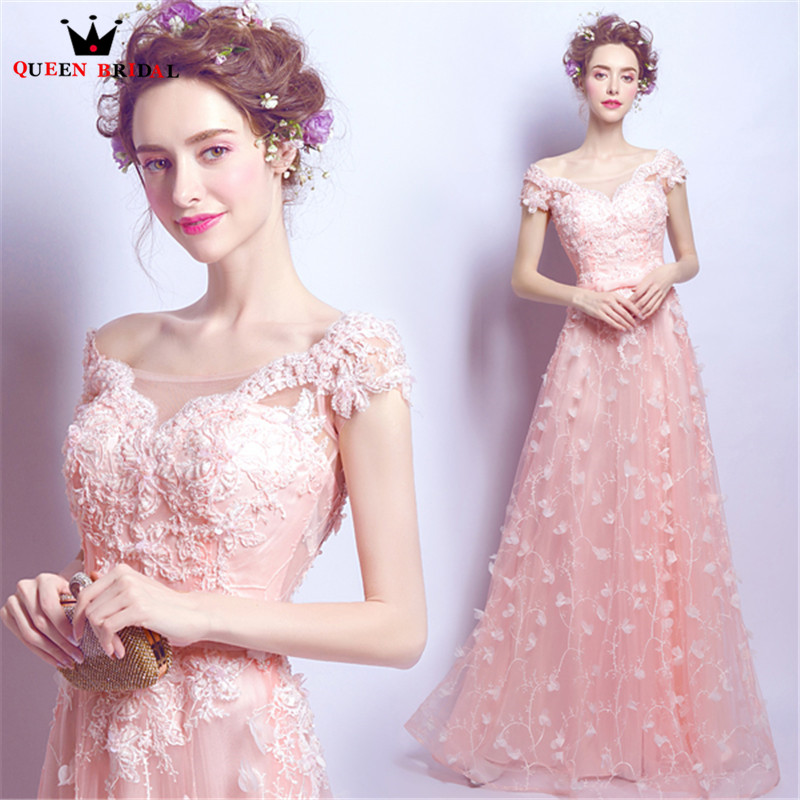 QUEEN BRIDAL Evening Dresses A-line Pink Tulle Flowers Elegant Long Party  Prom Dress Evening 6adf5bbbd21c