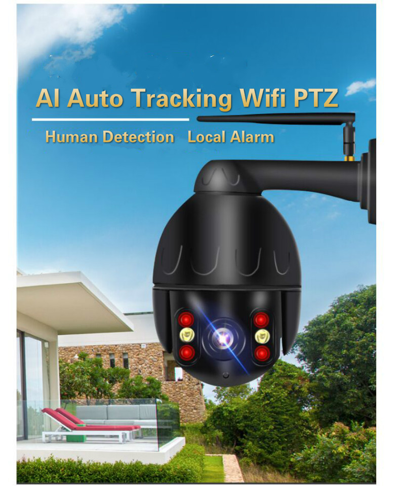 Auto tracking human wifi IP cameras 2MP full color P2P wireless PTZ cameras IR vision outdoor auto tracking surveillance cameraAuto tracking human wifi IP cameras 2MP full color P2P wireless PTZ cameras IR vision outdoor auto tracking surveillance camera
