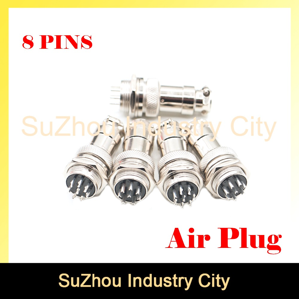 Free shipping ! 5pcs Small Air Plug Male & Female plug connector Diameter 16mm GX16 8pins core cable connector High Quality! 5pcs best quality dc plug dc plug long 5 5 2 1mm solder free shipping