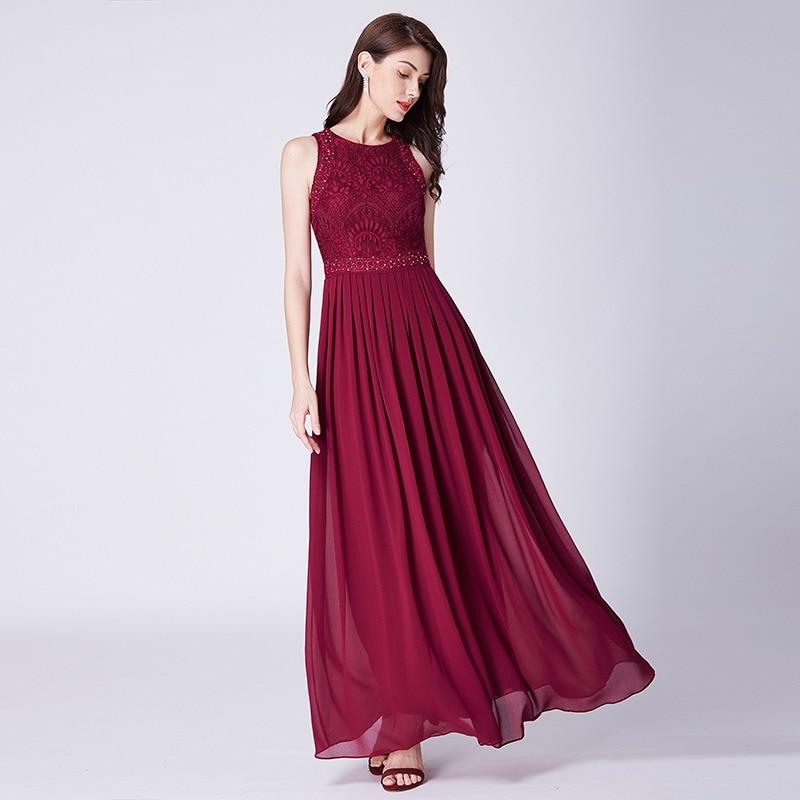 bfe9ecb2bbd 2019 Prom Dresses Elegant A-line Sleeveless O-neck Burgundy Lace Appliques  Cheap Long