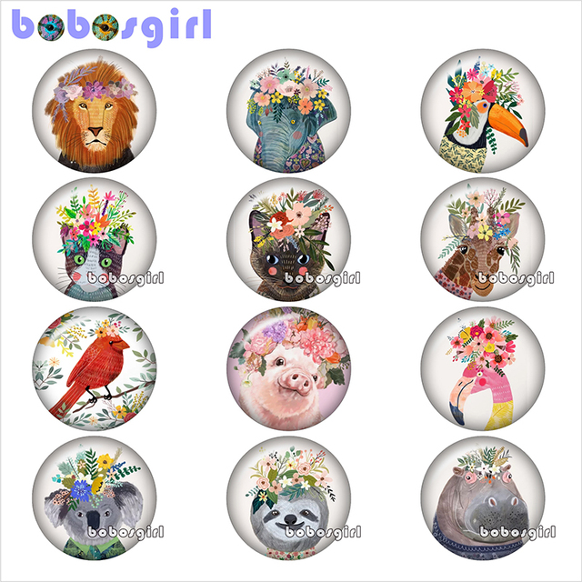 glass snap button jewelry  DIY wreath lion elephant pig sloth bird  Round photo cabochons  flat back   TW1031