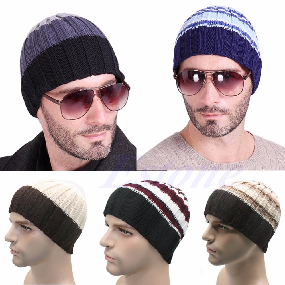 1pcs Men Wool Knit Hat Women Knit Winter Warm  Crochet Slouch Oversized Hat Unisex Cap Beanie Trendy wool felt cowboy hat stetson black 50cm