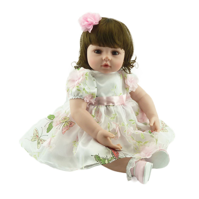 22 Baby Girls Doll Handmade Soft Silicone Reborn Dolls Realistic Vinyl Toddler Princess Doll Toys for Christmas Collection 45cm soft vinyl kit reborn baby doll silicone reborn baby dolls girls reborn baby dolls silicone vinyl