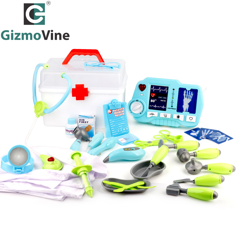 GizmoVine 31pcs Doctor Play Toys Set Doctora Juguetes for Child Medical Kit Baby Educational Box Light Role Pretend Classic Gift