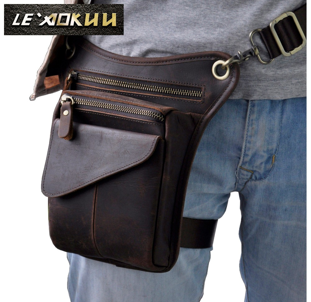Genuine Real Leather Men Multifunction Design Casual Sling One Shoulder Messenger Bag Fashion Waist Belt Pack Drop Leg Bag 211-3
