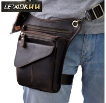 2016 New Top Quality Genuine Real Leather men vintage Brown Small Sport Outdoor Hiking Tactical Belt Bag Waist Pack Drop Leg Bag