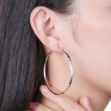 Women's Jewellery Hoop Earring 100% 925 Sterling Silver Fashion charm 53mm Big circle Earrings gift box E170 free shipping