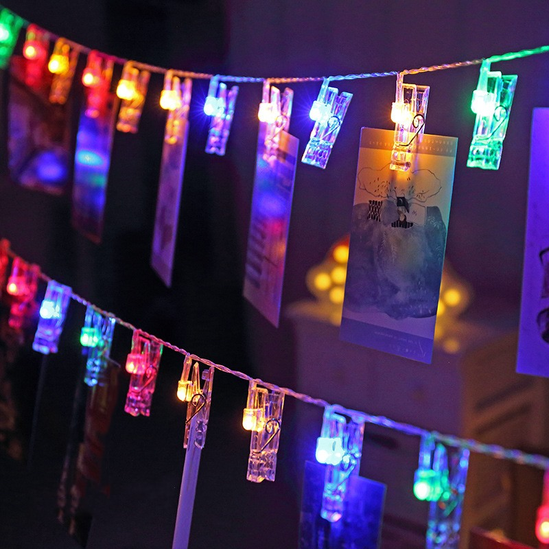 1.5M 3M 6M Photo Clip Holder LED String Lights Battery Powered LED Garland Decors For New Year Christmas Wedding Birthday Party