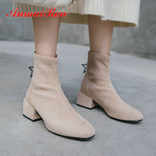 ANMAIRON 2019 Women Boots Winter Kid Suede Round Toe Shoes Women Slim Square Heel Short Plush Womens Ankle Boots Size 34-39 цена