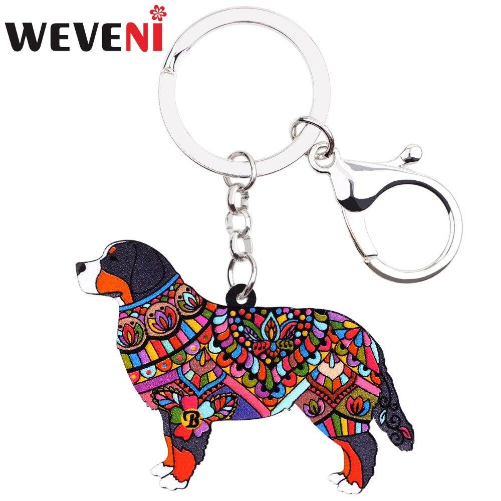 WEVENI Acrylic Dog Jewelry Bernese Mountain Dog Key Chain Key Ring Pom Gift For Women Girl Ladies Pendant Bag Charms Wholesale