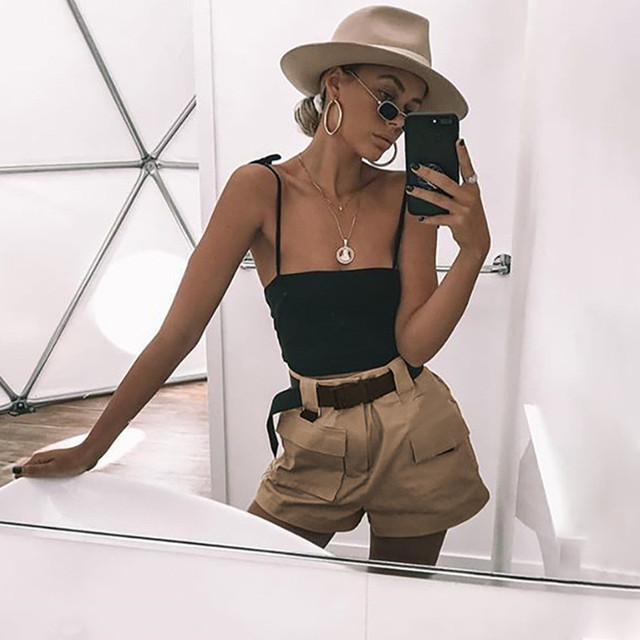 2018 Summer Women Wide Leg Shorts Casual Loose Ladies Khaki High Waist Shorts