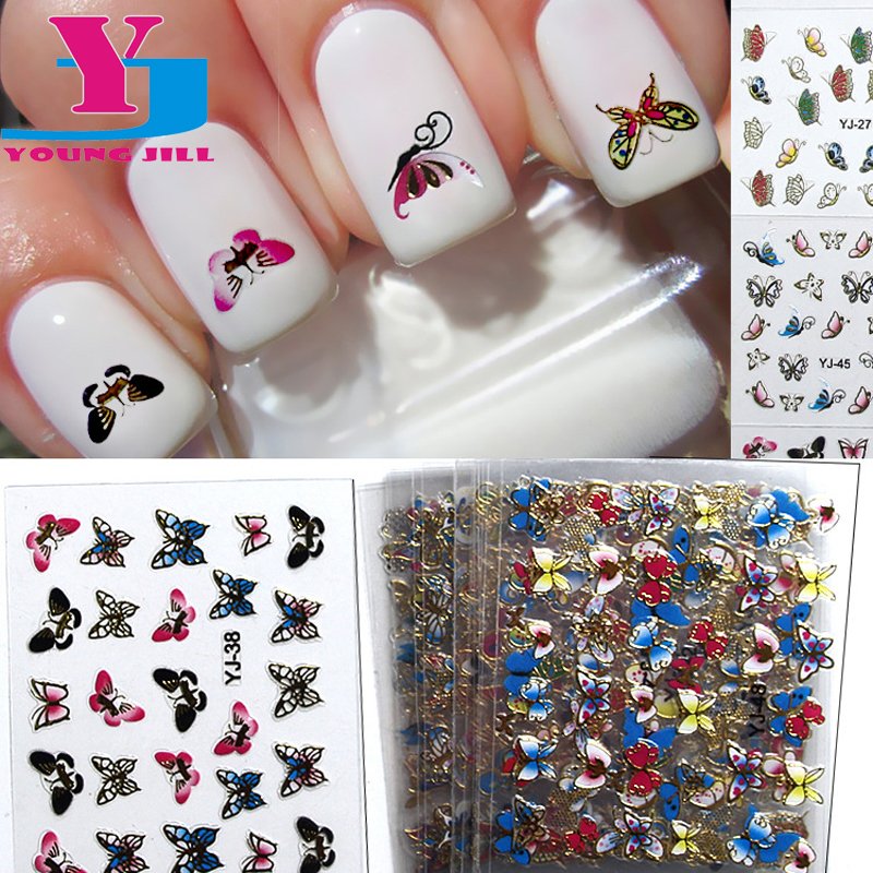 24pcs/lot 3D Nail Sticker Metallic Butterfly Flower Design Fashion ...