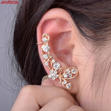 1pc Butterfly With Crystal Rhinestone Flower Earrings Sweet Punk Ear Cuff brincos oorbellen orecchini aretes boucle d'oreille
