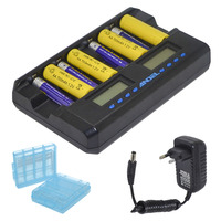 2019 New Arrival ANDEL 8 Slot Smart LCD Charger for Rechargeable AA AAA NIMH Ni Cd Batteries US/EU PLUG Black 10000606