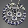 Azul Criado Sapphire Branco Topaz 925 Sterling Silver Jewelry Sets Brincos/Pingente/Colar/Anéis/Pulseiras Para mulheres Caixa Livre