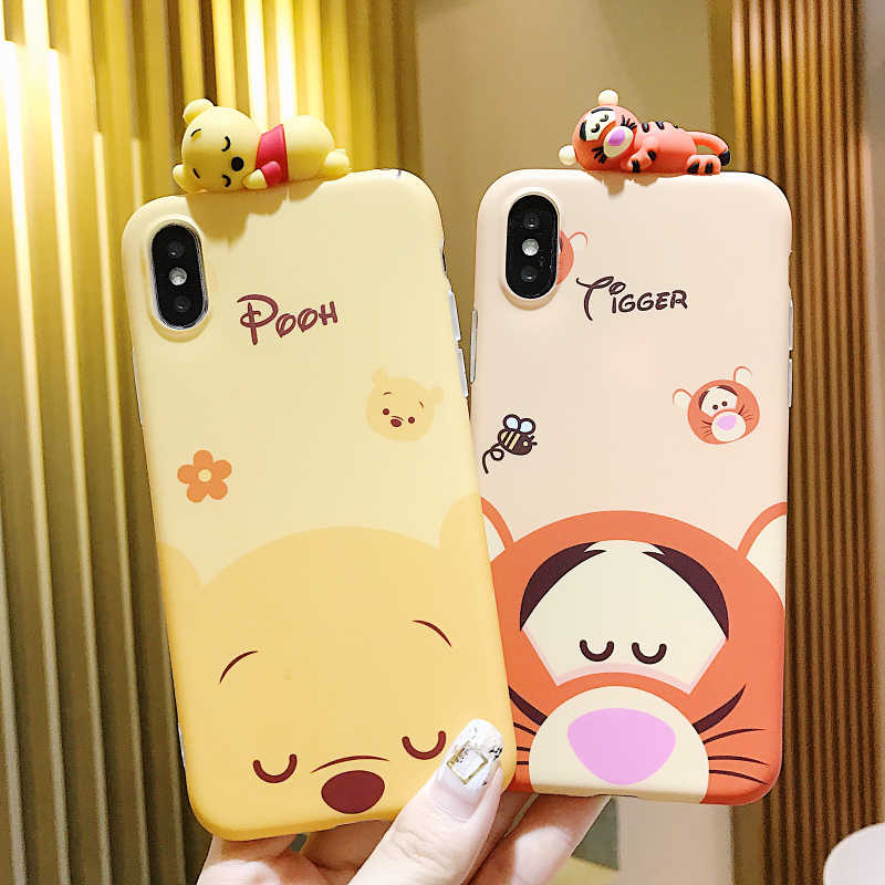 hot sale online 0ab4a 6fab0 Cartoon doll Winnie Pooh Tigger phone case For iPhone X XS All-inclusive  anti-fall soft Back Cover For iPhone 7 8 6s 6 Plus Case