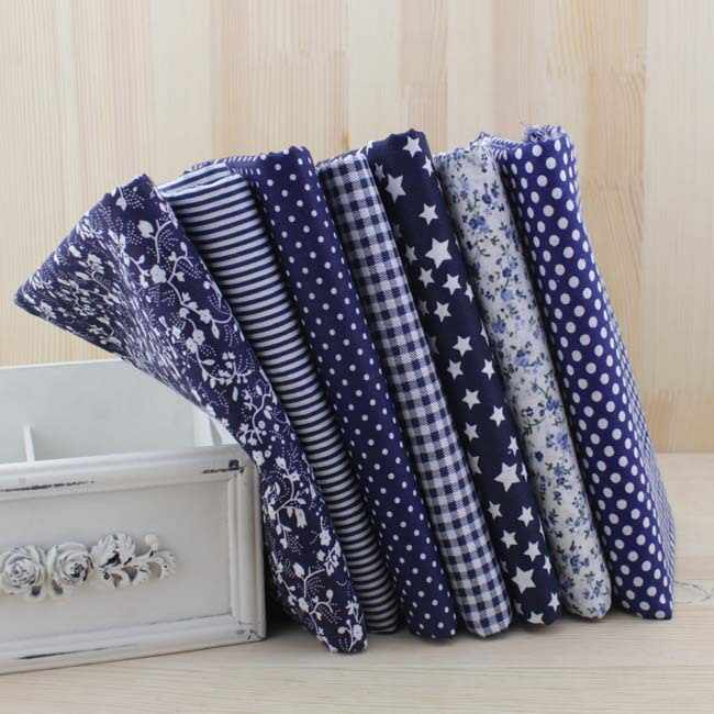 Booksew 7pcs Navy Fat Quarters Cotton Fabric For Quilting DIY Sewing Patchwork Bags Tilda Doll Cloth Textiles Fabric 50*50cm
