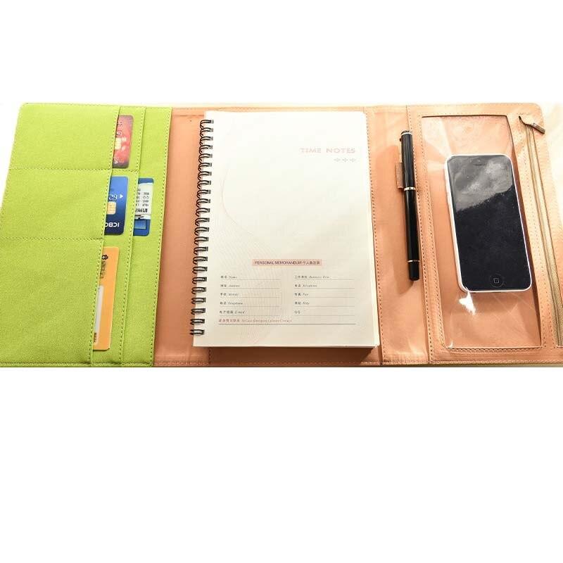 Remplaçable A5 Spirale Portable de Bureau D'affaires Réunion de Bloc-Notes Journal Journal Cadeau à feuilles mobiles Reliure Spirale Multifonction