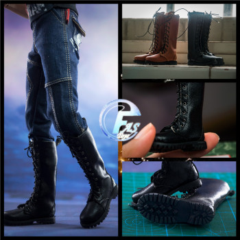 цена на 1:6 Scale Black Brown Martin Boots Military Shoes Model for 12in Action Figure toys