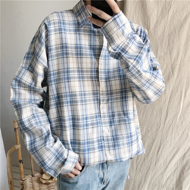 Fashion Casual Men's Long-Sleeved Shirt Spring And Autumn New M-Xl Plaid Loose Shirt Sky Blue Brown Personality Youth Popular