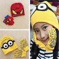 2 Piese Malha Chapéu Da Menina Do Bebê Chapéus de Inverno Bonito Pequenas Pessoas Amarelas E Spiderman Chapéu de Dupla Camada Para 0-7year