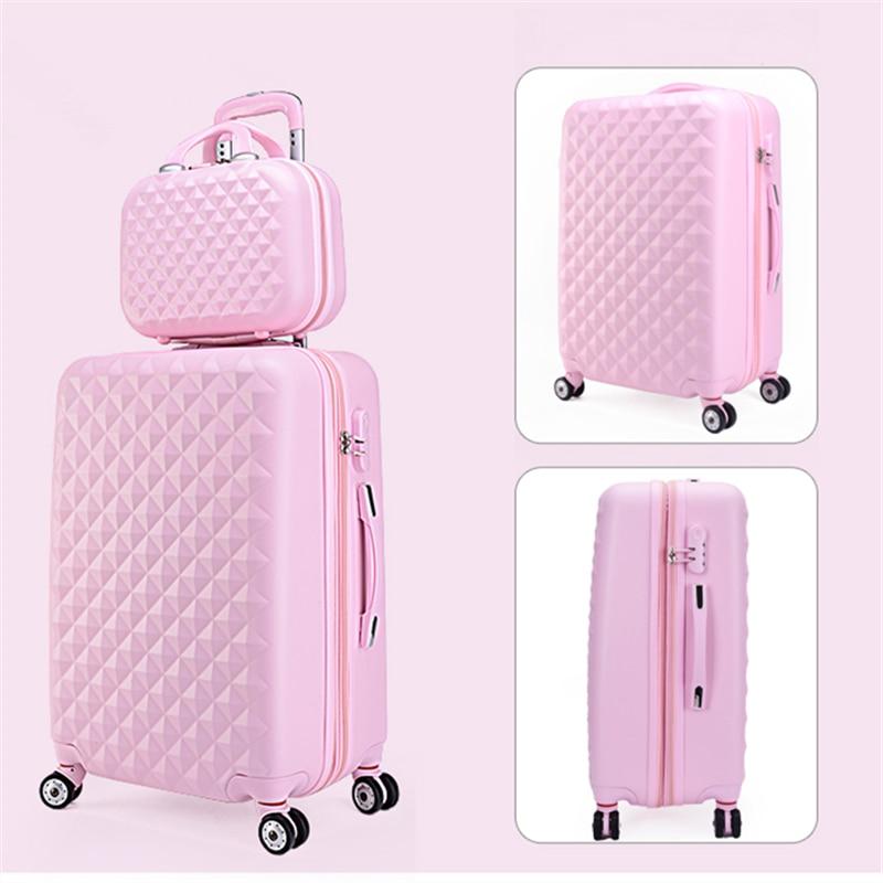 Оптовая продажа! 14 20 дюймов Розовый ABS + PC Hardside путешествия багажные сумки набор на Универсальный колеса FPR Женский, для девочек ярких цветов ...