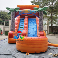 Family outdoor inflatable water kids slide with swimming pool for sale
