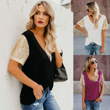 Fashion Women Summer V Neck T-Shirt Sequin Short Sleeve Tops Casual T Shirt Tees For 2018