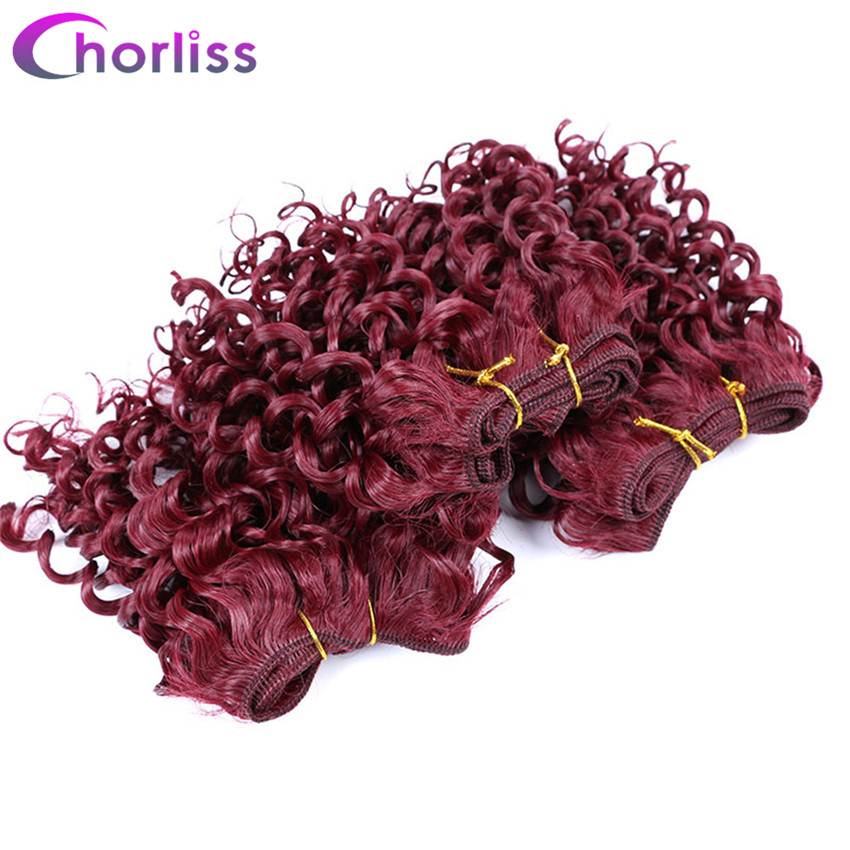 Hair Braids Hair Extensions & Wigs United Chorliss 8 Afro Kinky Curly Hair Weaving Synthetic Hair Extensions Pure Burgundy Weave Crochet Hair Weft 105g/lot 3pcs/lot
