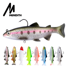 MEREDITH 12cm 15cm Trout Lead Head PVC Fishing Lures Swimming T Tail Silicone Soft Artificial Baits Swimbait Wobblers