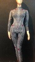 Модные блестящие стразы жемчуг Женская боди леггинсы для женщин певица в ночном клубе Show костюм наряд