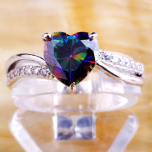 lingmei Wholesale Mysterious Rainbow Topaz & White 925 Silver Ring Size 6 7 8 9 10 11 12 13 Fashion Jewelry Free Shipping