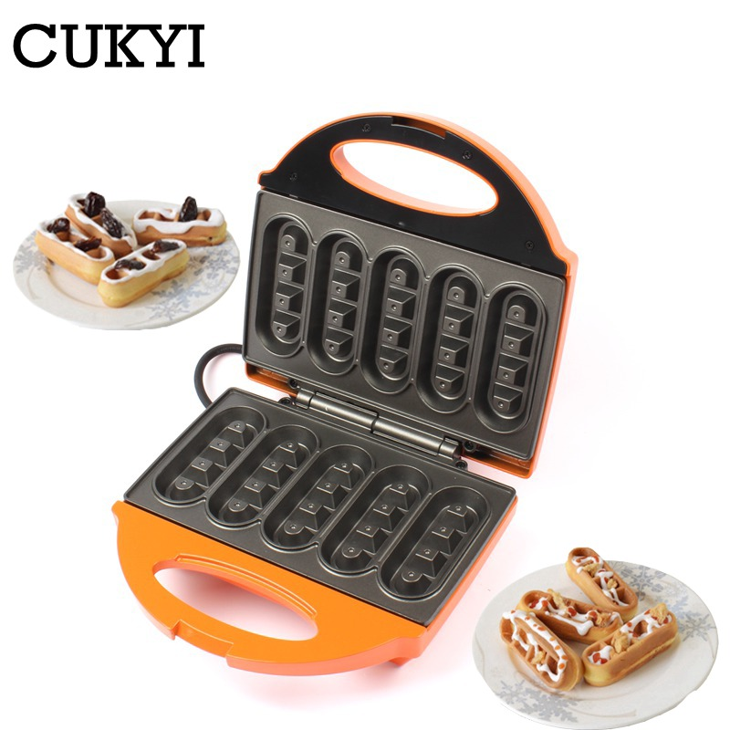 CUKYI Household Mini 5-stick Waffle Maker Double-sided Heating For Breakfast Non-stick Electric Cooking Grilling Machine 220V