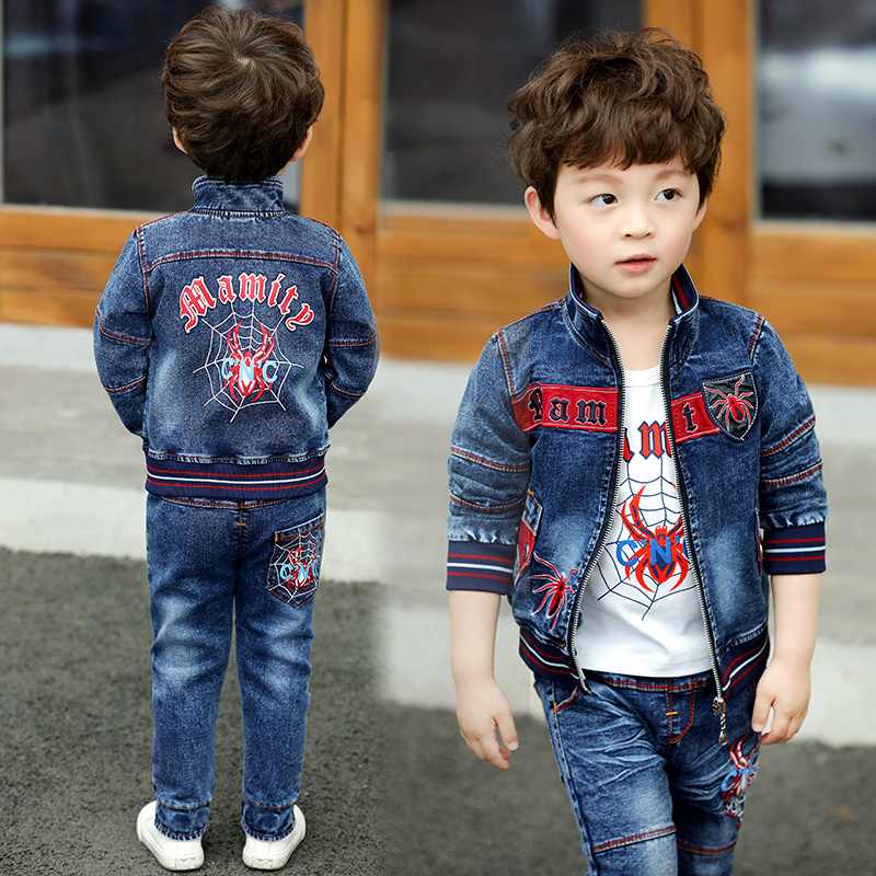 Boys Clothing Sets Jeans 2018 Autumn Fashion Kids Denim Jacket T-shirt Trousers Toddler Suit Boy Clothes 3pcs Outfit 2 3 4 Years baby fashion clothing kids girls cowboy suit children girls sports denimclothes letter denim jacket t shirt pants 3pcs set 4 13