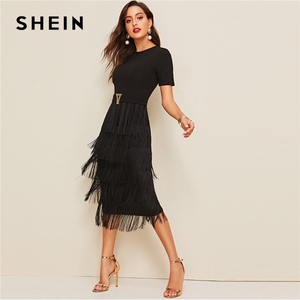 Image 1 - SHEIN Elegant Metal Button Detail Layered Fringe Black Pencil Dress Women High Waist Solid Short Sleeve Summer Slim Long Dresses