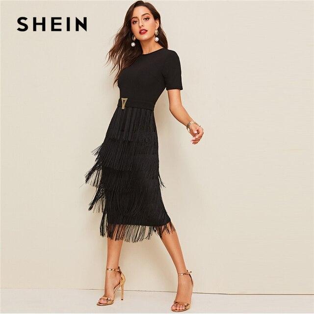 SHEIN Elegant Metal Button Detail Layered Fringe Black Pencil Dress Women High Waist Solid Short Sleeve Summer Slim Long Dresses