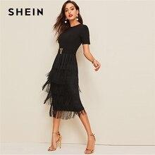 SHEIN エレガントな金属ボタン詳細レイヤードフリンジ黒の女性のハイウエストソリッド半袖夏スリムロングドレス