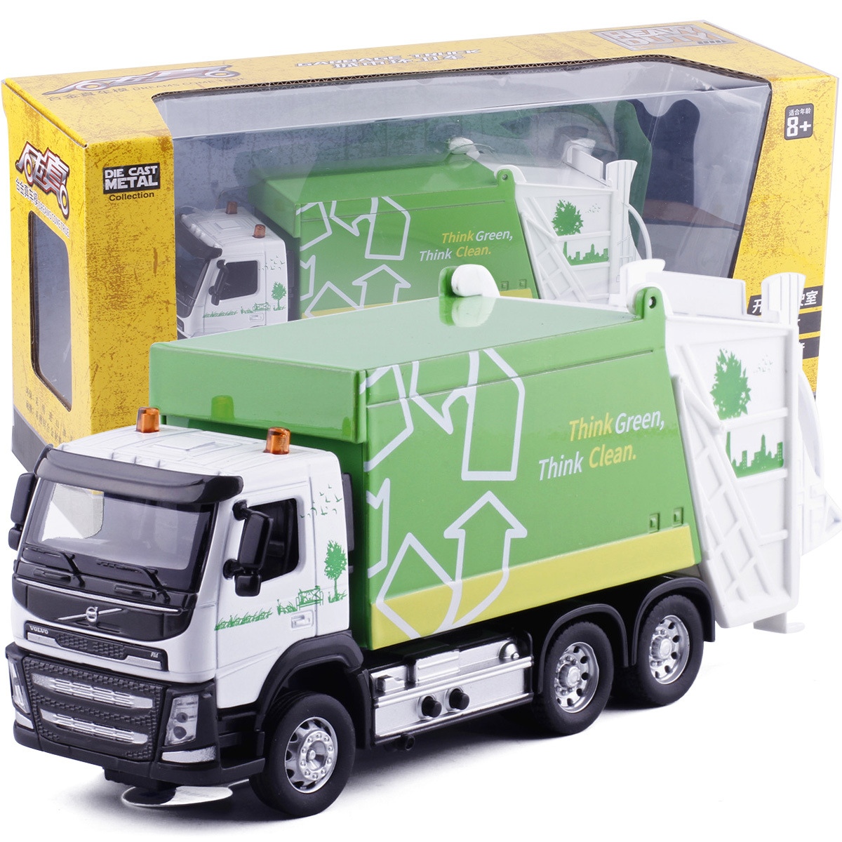 High Simulation 1:32 Alloy  Green Think Clean,Garbage Truck Car, Volvo Truck, Original Packaging Gift Box,free Shipping