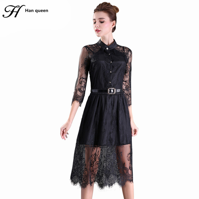 S-5XL 2016 Summer Dresses Hollow Out Women Half Sleeve Elastic Waist Floral Crochet Casual black Lace Dress Femininas Vestidos