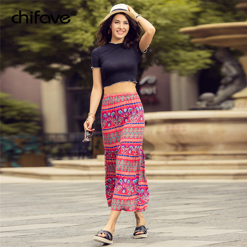 2018 chifave Casual Summer Womans Cotton boho Skirt Fashion Women Beach Floral Prints Skirt Low Waist Long Skirt Vintage
