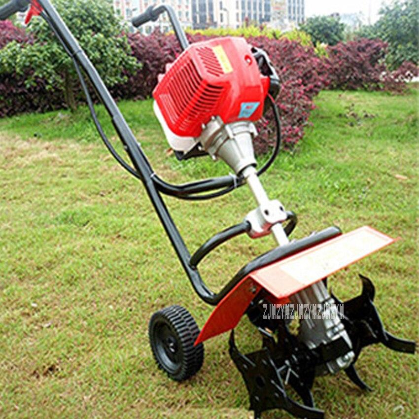 Mini motoculteur rotatif de marche de poussée de main 44-5 52CC 1.9kw motoculteur rotatoire de tracteur de marche de moteur à essence de 2 temps, cultivateur de marche