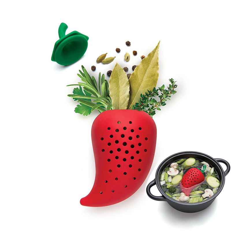 Hot Sale Creative Chilli Shape Spice Filter Seasoning Bags Strainer Resuable Food Grade Silicone Tea Infuser Gadgets