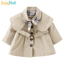 3 Colors Single Breasted Girls Coats England Style Solid Baby Girls Jackets Spring Autumn Turn-down Collar Fille Outwear CMB115