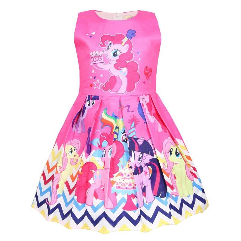 Summer Princess Little Pony Rainbow Dresses For Girls Halloween Birthday Party My Baby Unicorn Vestidos Dress Clothing 1