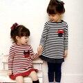 Envío libre, venta Caliente ropa de los niños para las muchachas, Casual, Coreano, Primavera otoño, Raya, vestido de la muchacha, desgaste de Los Niños