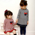 Free shipping,Hot sale children clothing for the girls,Casual,Korean,Spring autumn,Stripe,girl dress,Kids wear