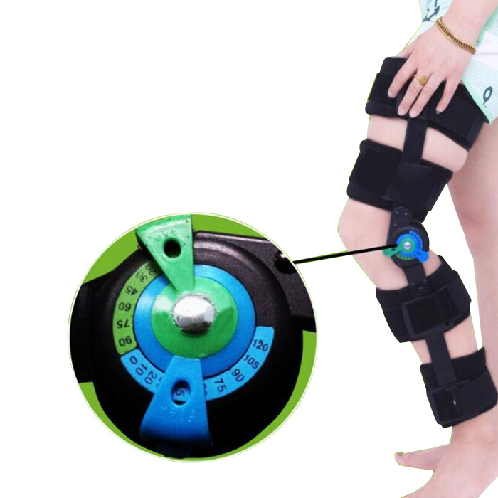 2018 Adjustable Knee Support Brace Orthosis hinged knee brace For Patellar Fracture Dislocation Full Leg Stabilizer S/M/L knee patella sport support guard pad protector brace strap stabilizer protection white