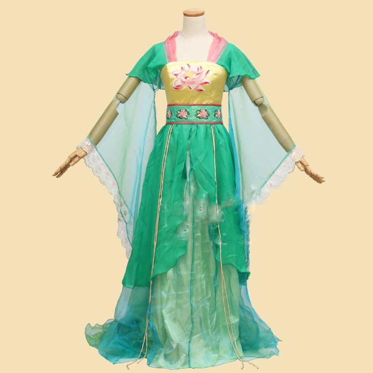 Light green lotus flower fairy costume thematic photography hanfu light green lotus flower fairy costume thematic photography hanfu stage performance wear for woman in chinese folk dance from novelty special use on mightylinksfo